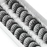 XUYI Pestañas postizas Gruesas Etapa Smokey Maquillaje Pestañas Ojos Grandes Rizo Largo Pestañas postizas Pestañas densas 10 Pares, 1 Caja 10 Pares