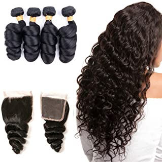 Loose Wave Brazilian Hair Lace Closure 4 × 4 Free Part With Human Hair Bundles With Baby Hair Silk Base Closure Cheap Sale 14 16 18 20 +12
