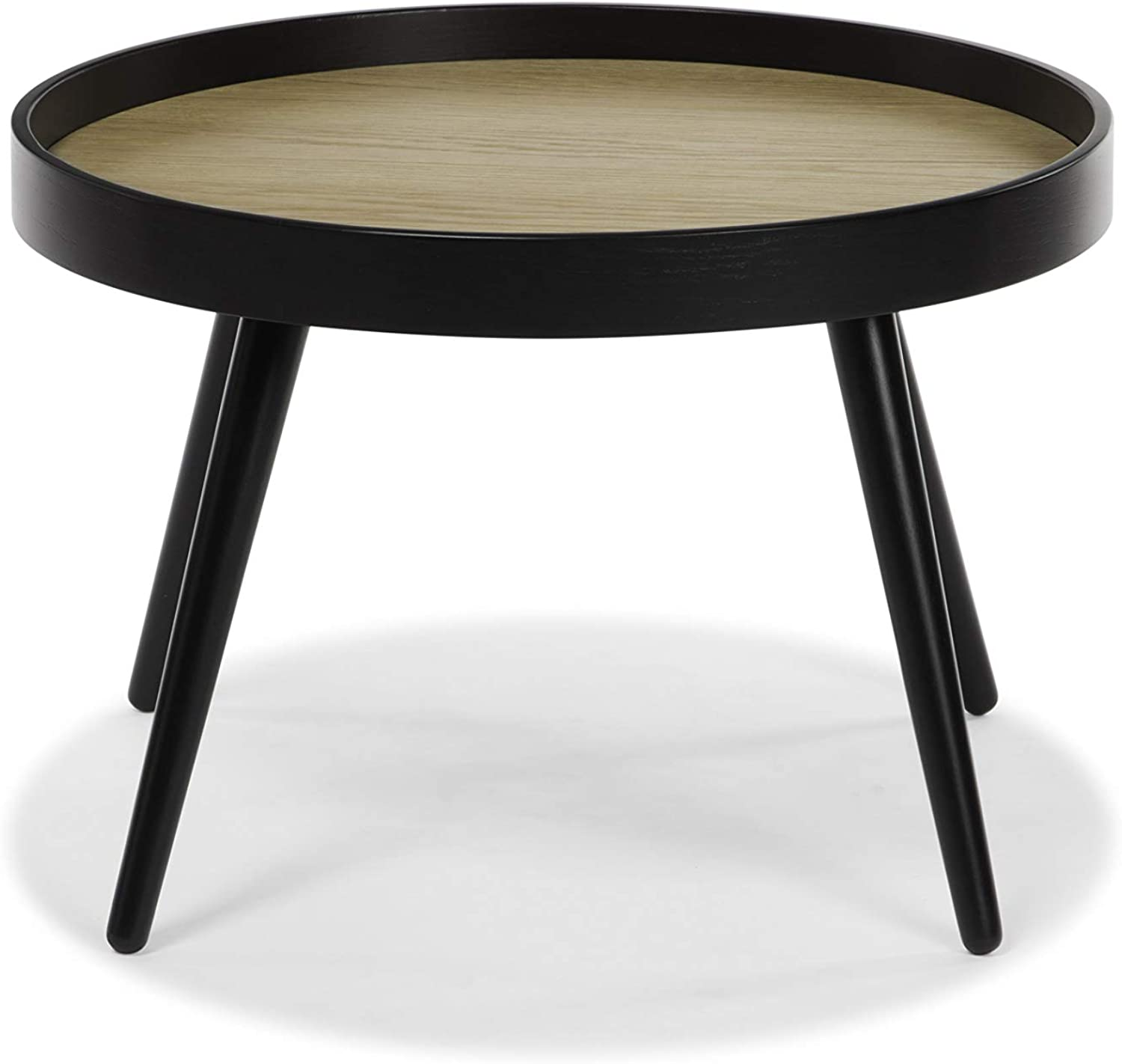 Hensen Mid-Century Modern Round Black Accent Table  use as End, Side, Bedside, or Mini-Coffee Table