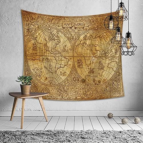 KHKJ Navegación Mapa del Mundo Tapiz Mapa de Alta definición Cabecera Arte de la Pared Colcha Dormitorio para Sala de Estar Deco A11 95x73cm