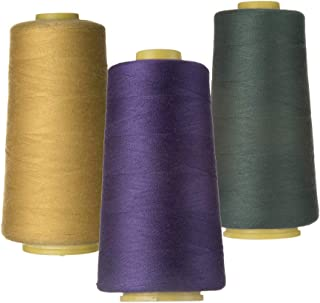 100% Spun Polyester Sewing Thread 3 Pieces of 3000 Yard Overlock Connecting Thread for DIY,Handwork,Serger,Overlock,Single Needle,Sewing Machine
