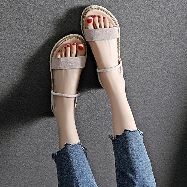 YMFIE Dame Dame Dame Sommer süße Blaumen Mode Retro Flache Zehe Sandalen Rutschfeste Sandalen  0adc00