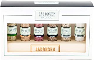 Jacobsen Salt Co. 6 Vial Infused Salt Set with branded wooden stand