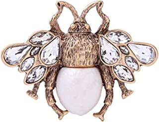 Y&M Bee Brooches Pin,Vintage Simulated Pearl Crystal Bee Brooches Women