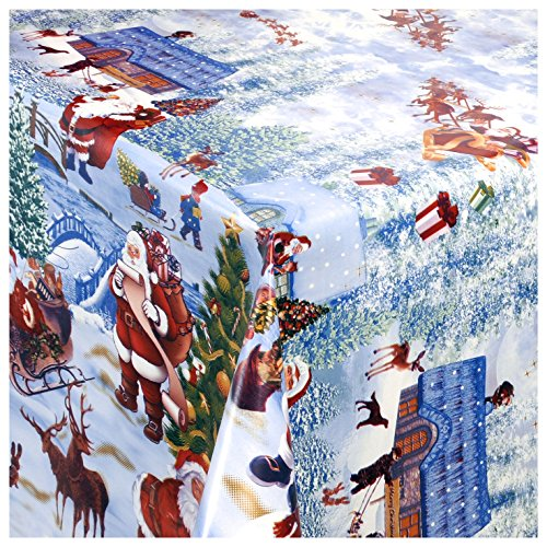 TEXMAXX Wachstischdecke Gartentischdecke Abwaschbar nach Wunschmaß WEIHNACHTSDORF Winter Wonderland (228-00) - 100 x 140 cm