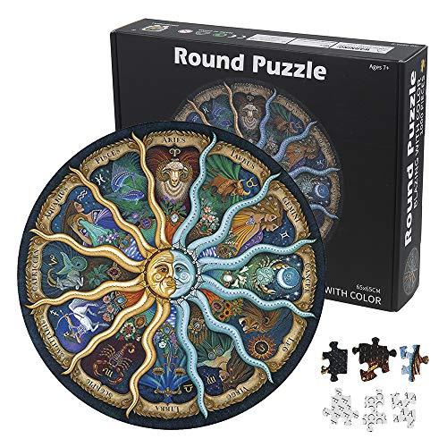 N / C 1000 Teile Puzzle, Runde Puzzle farbenfrohes Legespiel, Puzzle Stressfreisetzung Spielzeug, Geschicklichkeitsspiel für die ganze Familie und Erwachsene