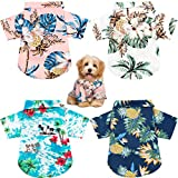 4 Pieces Pet Summer T-Shirts Hawaii Style Floral Dog Shirt Hawaiian Printed Pet T-Shirts Breathable Pet Cool Clothes Beach Seaside Puppy Shirt Sweatshirt for Dogs Pet Puppy (Medium)