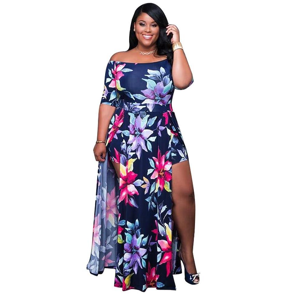VERTTEE Maxi Women's Dress Boat Neck Short Sleeve Plus Size High Waist Print Causal Party Club Cocktail Spilt Women Dress