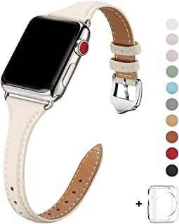 WFEAGL Leather Bands Compatible with Apple Watch 38mm 40mm, Top Grain Leather Band Slim & Thin Replacement Wristband for iWatch Series 5 & Series 4/3/2/1(IvoryWhite Band+Silver Adapter, 38mm 40mm)