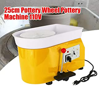 DONSU Pottery Wheel 25cm Pottery Forming Machine 350W Electric Pottery Wheel with Adjustable Feet Lever Pedal DIY Clay Tool with Tray for Ceramic Work Clay Art DIY Art Craft Green
