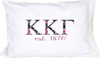 Desert Cactus Kappa Kappa Gamma Sorority Floral Letters with Founding Year Pillowcase 300 Thread Count 100% Cotton KKG