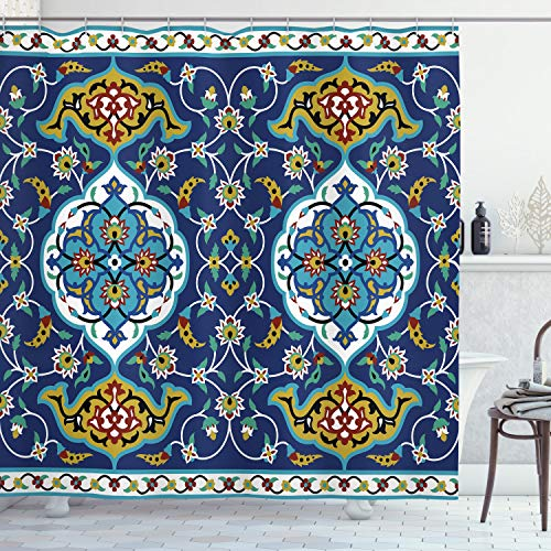 """Ambesonne Moroccan Shower Curtain, Oriental Motif with Vintage Byzantine Style Tile Effects Artwork, Cloth Fabric Bathroom Decor Set with Hooks, 70"""" Long, Mustard Royal Blue"""