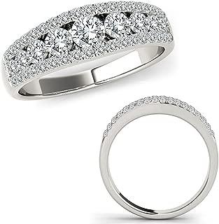 1 Carat G-H Diamond Fancy Eternity Etoil Band Designer Cluster Ring 14K White Gold