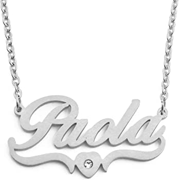 Personalized Custom Name Necklace Kigu Layla Heart Shaped Silver Tone
