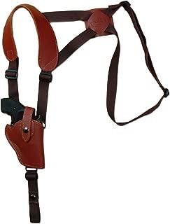 Barsony New Burgundy Leather Vertical Cross Harness Shoulder Holster for 2-3