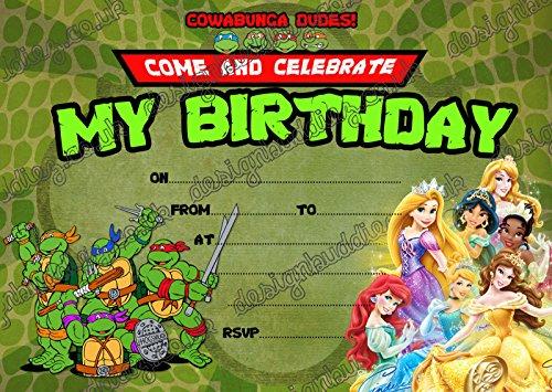 Teenage Mutant Ninja Turtles & Disney Princess 10de grosor invitaciones y 10Envolopes, 30