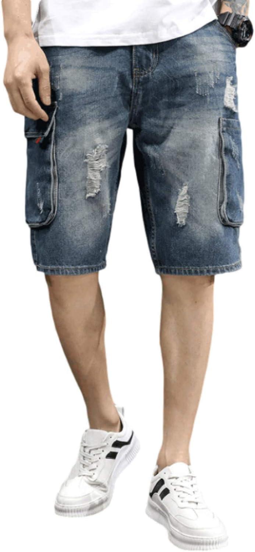 Jubaton Men's Denim Shorts, Summer Loose Thin Section Ripped Retro Fashion Handsome