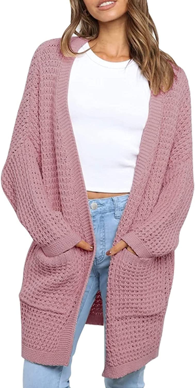 Women's Casual Super special price Loose Style Open Long Front Cardigan Sleeve Selling rankings Knit
