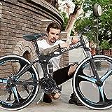 Lofiu 26in Full Suspension Folding Mountain Bike 21 Speed Bicycle for Adult MTB Bikes (Black)