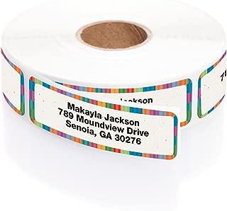 Bright Stripes Designer Rolled Address Labels with Elegant Plastic Dispenser