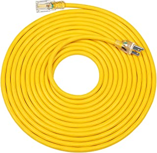 DEWENWILS 25 FT 12/3 Gauge Indoor/Outdoor Extension Cord with LED Lighted End, SJTW 15 Amp/125V/1875W Yellow Outer Jacket ...