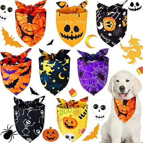 8 Stücke Halloween Hund Bandanas Dreieck Hund Schal Verstellbarer waschbarer Hund Lätzchen Kürbis Fledermaus Spinne Haustier Schal für Halloween Haustier Kostüm Versorgung