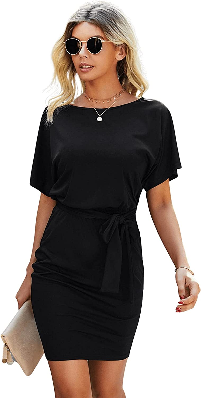 SheIn Women's Short Sleeve Wear to Work Dresses Tie Waist Pencil Bodycon Dress