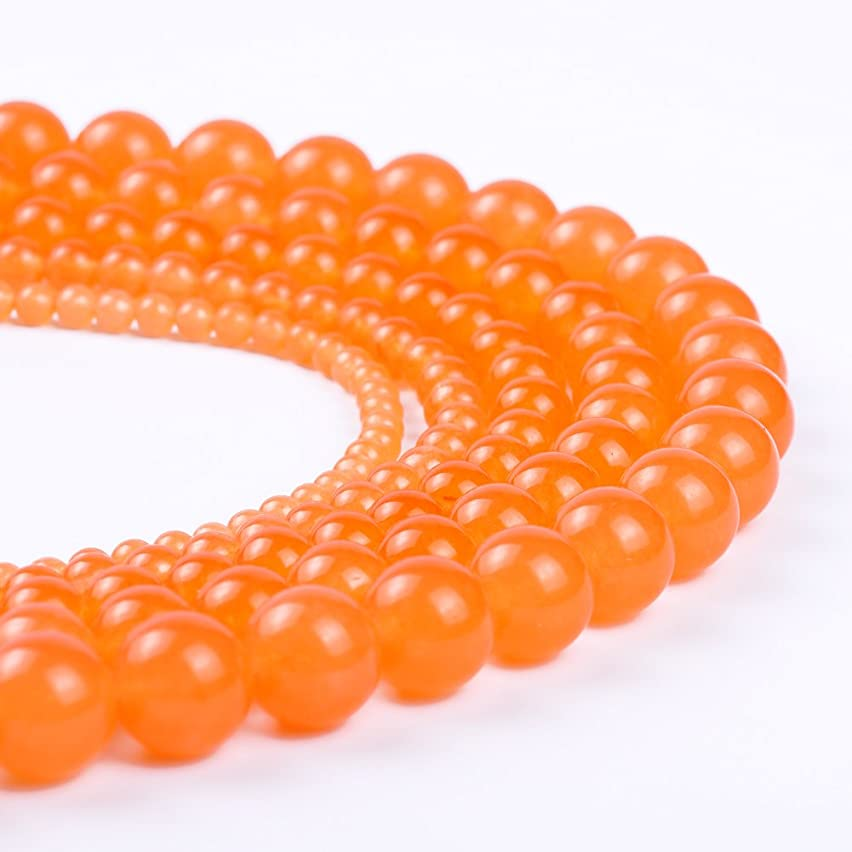 Natural Round Jade Loose Stone Beads Bulk For Jewelry Making 4MM, 6MM, 8MM, 10MM ,12MM (10MM, orange red)