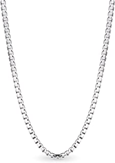 Sponsored Ad - AmyRT Silver Box Chain Necklace,1.5mm Stainless Steel Mens Womens Necklace 16 to 30 Inch