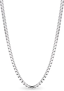 Silver Box Chain Necklace,1.5mm Stainless Steel Mens Womens Necklace 16-30 Inch