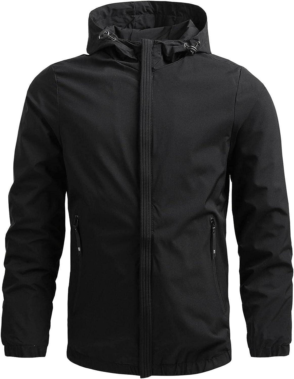 SUIQU Men's Zipper Lightweight Bomber Jackets with Hood Casual Solid Pockets Windbreaker Spring Fall Thin Coat Outwear