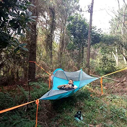 WXQHYD Single Person Hiking Traveling Tree Tent Outdoor Camping Tree Hammock Bed Ultralight Multi-functional Three Trees Hanging Bed