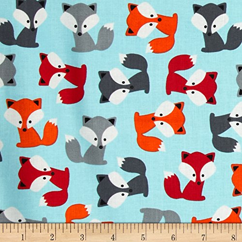 Urban Zoologie Foxes Sky, Quilting Fabric by the Yard