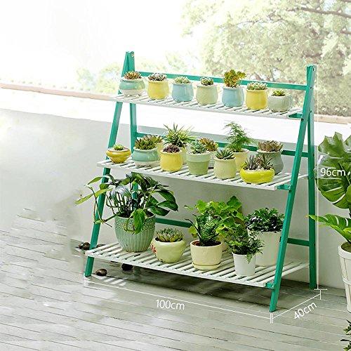 LLLXUHA Plantes en pot Multi-couche Stand de plante, Simple Pliant Multifonction Support de fleurs, intérieur Plantes charnues Présentoir, Espace de rangement livres étagère à livres , Green , 100*40*96cm