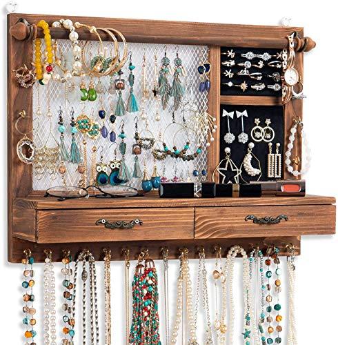 Soporte de pared para joyas, soporte para joyas, organizador de joyas con barra para pulsera, 21 ganchos, cajón Qilicz, almacenamiento de joyas para pendientes, cadenas, pulseras, anillos, accesorios