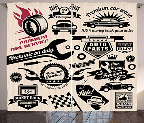 """Ambesonne Retro Curtains, Car Repair Shop Logos Monochrome Car Silhouettes Best Garage in Town, Living Room Bedroom Window Drapes 2 Panel Set, 108"""" X 108"""", Beige Coral"""
