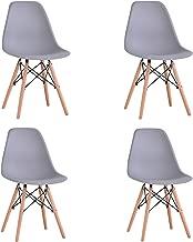 KunstDesign Set di 4 Sedie da Pranzo con Seduta in Polipropilene e Gambe in Legno Massello di Faggio, Design Ergonomico (Grigio)