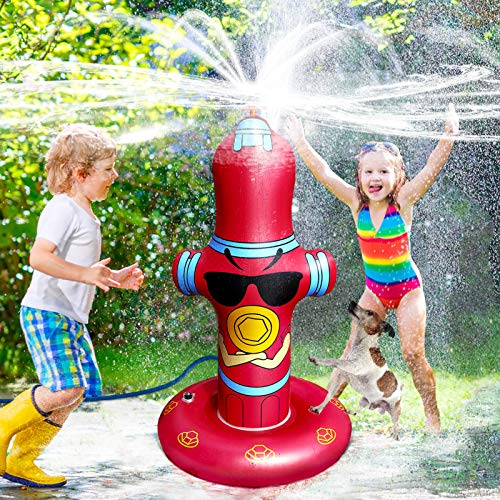 Vimite Water Sprinkler for Kids,Fire Hydrant Kids Sprinkler for Yard,50' Inflatable Sprinkler,360° Spray Toddler Sprinkler with Eco-Friendly PVC Material Summer Outdoor Toys for Toddlers Big Kids