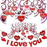 Romántico San Valentín Decoraciones, San Valentín Colgantes Remolinos Te amo Bésame Pancartas, San Valentín Colgantes Adornos Decoraciones para Pared Ventana San Valentín Bodas Decoración Suministros
