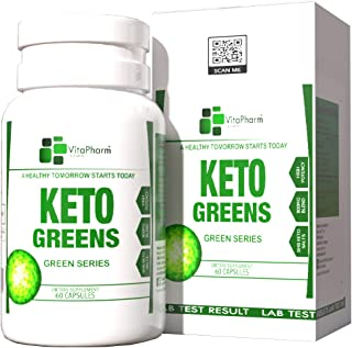 Keto Greens, by VitaPharm Nutrition, 800mg Keto Drive BHB Supplement, for Women and Men, Fast Acting Ketosis, Diet Carb Bl...