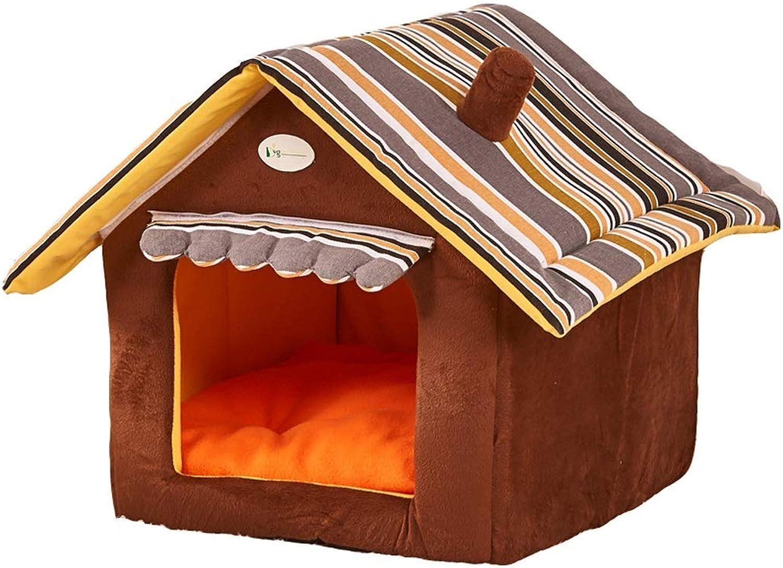 Dog House Rimedibile Lavabile Caldo gatto Litter House Small Dog Golden Retriever Big Dog Puppies Pet Kennel (Colore: BROWN, Dimensione: M)