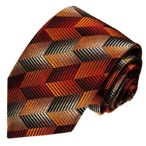 Lorenzo Cana - Luxus Designer Krawatte aus 100{79c2b7eccebda3751bf0ce2cf886303001c951bc105f9fa77e63333e907f9995} Seide - Seidenkrawatte - orange braun beige gestreift Streifen - 42025