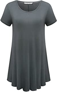 Women's Short Sleeve Loose Fit Flare Hem T Shirt Tunic Top