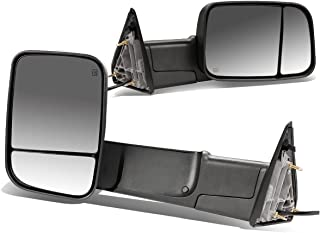 For 09-16 Dodge RAM Pair of Black Powered + Heated Glass + Foldable Side Towing Mirrors