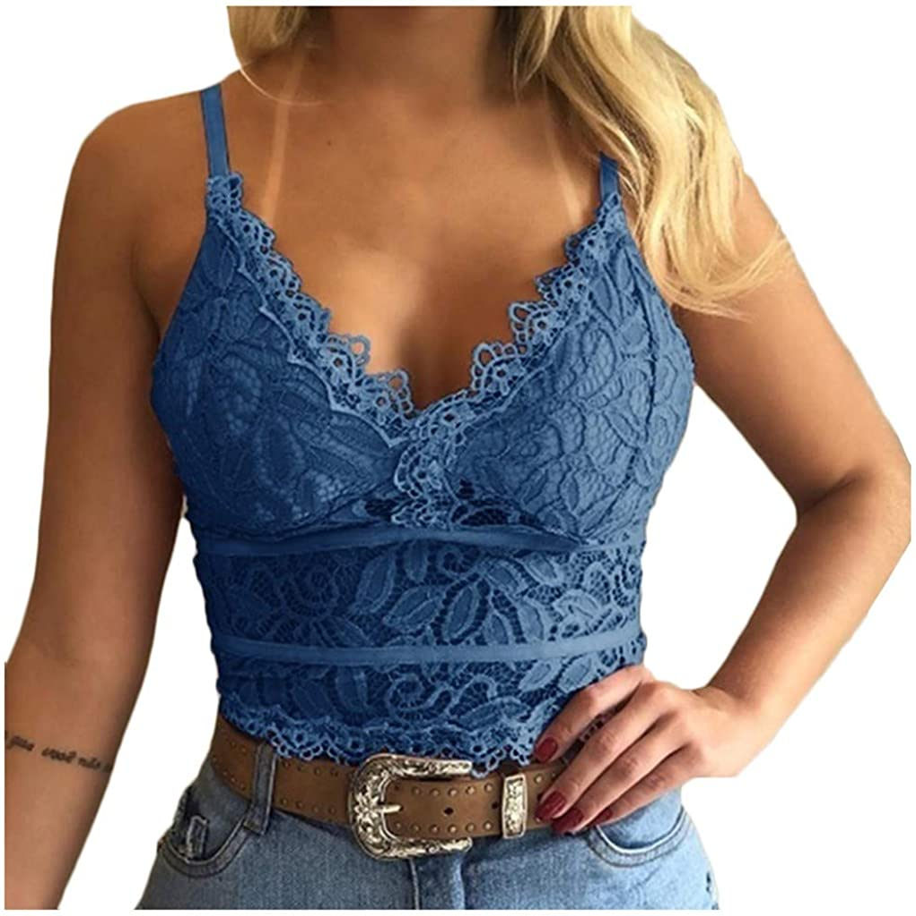 Intimates for Women Lingerie, Women Plus Size Vest Crop Wireless Bra Lingerie Sexy V-Neck Underwear Camisole