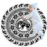 Alfombra de área Redonda Alfombra Patrón Circular con Elefantes Decorativos. Alfombrilla Antideslizante de 39,4 Pulgadas de diámetro para Sala de Estar, Dormitorio