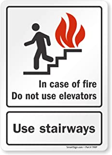 in case of fire elevator sign