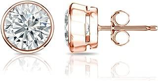 Diamond Wish 14k Gold Bezel-set Round Diamond Stud Earrings (1/4-2cttw, O. White, I2-I3) Push-backs
