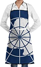 Flag of Antarctica Aprons Bib Adjustable Polyester Adult Long Full Kitchen Chef Cooking Gardening Apron for Outdoor Restaurant BBQ Serving Grill Cleaning Crafting Baking