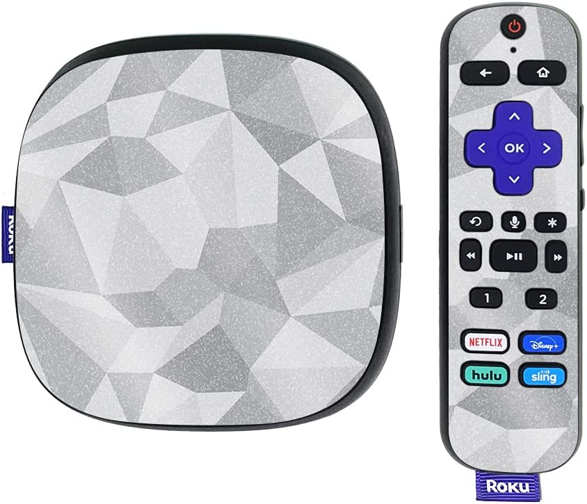 MightySkins Glossy Glitter Skin Compatible with Roku Ultra HDR 4K Streaming Media Player (2020) - Gray Polygon | Protective, Durable High-Gloss Glitter Finish | Easy to Apply | Made in The USA